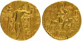 Gold Dinar Coin of Samudragupta of Gupta Dynasty of of Scepter type.