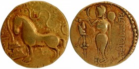 Gold Dinar Coin of Samudragupta of Gupta Dynasty of Ashvamedha Type.