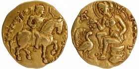 Gold Dinar Coin of Kumaragupta I of Gupta Dynasty of Horseman type.