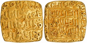Gold Square Tanka Coin of Qutb ud din Mubarak of Hadrat Dar ul Khilafa Mint of Delhi Sultanate.