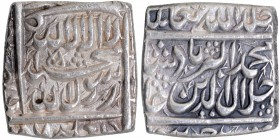 Silver Square One Rupee Coin of Akbar of Jaunpur Mint.