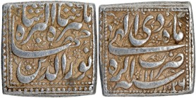 Silver Square One Rupee Coin of Jahangir of Agra Mint of Di Month.