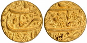 Gold Mohur Coin of Jahangir of Burhanpur Mint of Aban Month.