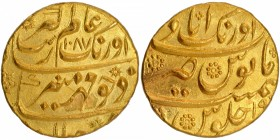 Gold Mohur Coin of Aurangzeb Alamgir of Aurangabad Mint.