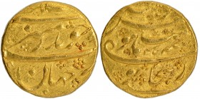Gold Mohur Coin of Aurangzeb Alamgir of Bijapur Dar-uz-zafar Mint.