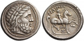 Eastern Celts in the Danube region and Balkans. Tetradrachm imitating late Philip II issued 3rd-1st century BC, AR 14.42 g. Laureate head of Zeus r. R...