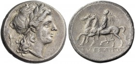 Samnium, Suessa. Didrachm circa 265-240 BC, AR 6.89 g. Laureate head of Apollo r.; behind, ear of corn. Rev. Dioscorus on horse l., holding palm-branc...