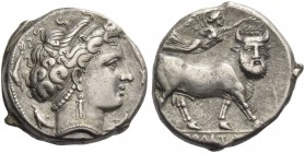 Neapolis. Didrachm circa 300 BC, AR 7.45 g. Diademed head of nymph r.; four dolphins around. Rev. Man-faced bull advancing right; above, Nike flying r...