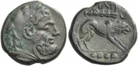Teate. Quadrunx circa 225-200 BC, Æ 11.58 g. Head of Hercules r., wearing lion's skin headdress. Rev. Lion standing r.; above, club and crescent. In e...