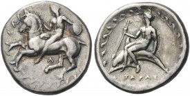 Calabria, Tarentum. Nomos circa 380-340 BC, AR 7.75 g. Horseman holding shield and dismounting l.; all within circle of waves. Rev. Dolphin rider hold...