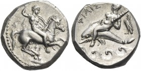 Calabria, Tarentum. Nomos circa 332-302, AR 7.82 g. Armed horseman r. spearing down. Rev. Oecist riding dolphin l., holding distaff; behind, eagle and...