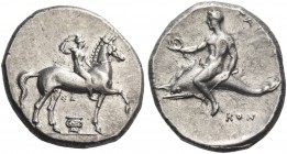 Calabria, Tarentum. Nomos circa 302, AR 7.94 g. Horseman r. crowning himself; between horse's legs, ΣA / Ionic capital. Rev. Oecist riding dolphin l.,...