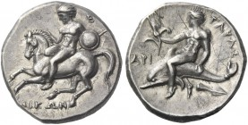 Calabria, Tarentum. Nomos circa 281-270 BC, AR 7.86 g. Rider l., holding spear and shield, dismounting from horse. Rev. Oecist riding dolphin l., hold...