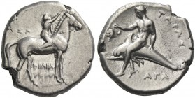 Calabria, Tarentum. Nomos circa 281-270, AR 7.86 g. Youth on horseback r., crowning his horse. Rev. Oecist riding dolphin l., holding bunch of grapes....
