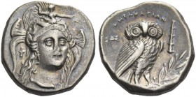 Lucania, Heraclea. Drachm circa 281-278 BC, AR 3.82 g. Head of Athena, three-quarters facing r., wearing Attic helmet decorated with Scylla. Rev. Owl,...