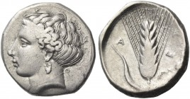 Metapontium. Nomos circa 400-340 BC, AR 7.80 g. Head of Demeter l. Rev. Barley ear. Johnston-Noe 435. Historia Numorum Italy 1521.
