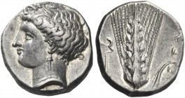 Metapontium. Nomos circa 340-330 BC, AR 7.85 g. Head of Demeter l., hair tucked up under barley wreath. Rev. Barley-ear; in l. field, caduceus. Johnst...