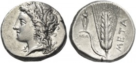 Metapontium. Nomos circa 330-290 BC, AR 7.84 g. Barley-wreathed head of Demeter l. Rev. Barley ear; in l. field, tongs. Johnston class C 4.9. Historia...