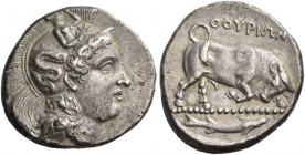 Thurium. Di-nomos circa 400-350 BC, AR 14.94 g. Head of Athena r., wearing Attic helmet decorated with Scylla. Rev. Bull butting r.; in exergue, fish....