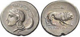 Velia. Nomos circa 280, AR 7.31 g. Head of Athena l.; wearing crested helmet decorated with griffin. Rev. Lion crouching r.; above, caduceus. Williams...
