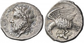 Locri. Nomos circa 320-280, AR 6.76 g. Laureate head of Zeus l. Rev. Eagle l., with spread wings, holding hare. SNG ANS 524. Historia Numorum Italy 23...
