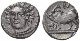 Sicily, Abacaenum. Litra circa 410-400 BC, AR 0.54 g., Facing head of nymph, slightly three-quarter l. Rev. Sow standing l. with piglet on double exer...