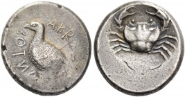Agrigentum. Tetradrachm circa 475-472 or later, AR 17.15 g. Eagle standing l., with closed wings. Rev. Crab. SNG Copenhagen 41. SNG ANS 979