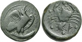 Agrigentum. Hemilitron circa 406-405, Æ 19.48 g. Eagle standing r., holding fish. Rev. Crab, holding snake; below, murex and sepia. Around six pellets...