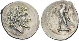 Agrigentum. Drachm circa 213-211, AR 2.72 g. Laureate head of Zeus r. Rev. Eagle standing l., with open wings. BMC 84. Burnett, Enna Hoard p. 6.