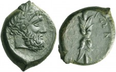 Aitna. Bronze circa 340-330 BC, Æ 10.40 g. Laureate head of Zeus r. Rev. Thunderbolt. De Luynes 842. Calciati 7.