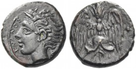 Catane. Tetras circa 405-402 BC, Æ 1.98 g. Head of river-god l. with horn and floating hair; at r., ivy-leaf. Rev. Winged thunderbolt; around, three p...