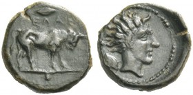 Gela. Uncia circa 420-405 BC, Æ 1.10 g. Bull standing r.; above, grain, in exergue, pellet. Rev. Head of river-god r.; in l. field, grain. Jenkins 509...