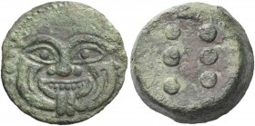 Himera. Hemilitron circa 430-420 BC, Æ 20.90 g. Gorgoneion. Rev. Six pellets. Calciati 23. SNG ANS 180.