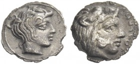 Longane. Litra c. 420-400, AR 0.55 g. Head of young Heracles r. Rev. Head of young river-god r. Jenkins, AIIN 20 Suppl., pl. 11, i. Campana 2 (this co...