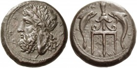 Messana as Zankle. Litra circa 338-275 BC, Æ 15.73 g. Laureate head of Zeus l. Rev. Tripod between two dolphins. SNG ANS 391. Calciati 12.