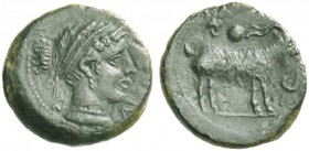 Nakona. Uncia circa 400, Æ 1.12g. Head of nymph r., wearing earring and necklace; hair bound with fillet. Rev. Goat standing r.; above, bunch of grape...