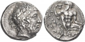 Naxos. Tetradrachm, circa 415, AR 16.08 g. Bearded head of Dionysus r., hair bound with stephane adorned with ivy-wreath. Rev. Bearded, naked Silenus,...