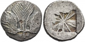 Selinus. Didrachm circa 530-500, AR 9.03 g. Selinon leaf; at base of stem, two pellets. Rev. Incuse mill sail pattern. SNG ANS 667. Selinus Hoard pl. ...