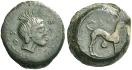 Segesta. Hexas circa 416/5-414/3 BC, Æ 4.35 g. Head of a nymph r. Rev. Hound standing r.; above and below, punched pellet within circular incuse. SNG ...
