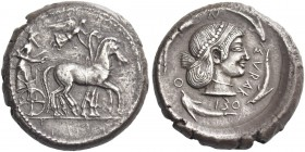 Syracuse. Tetradrachm circa 480-475, AR 17.28 g. Slow quadriga driven r. by charioteer, holding reins and kentron; above, Nike alighting r. to crown t...