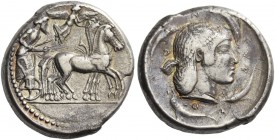 Syracuse. Tetradrachm circa 479-461, AR 17.21 g. Slow quadriga driven r. by charioteer holding reins and kentron. Nike, above, flying r. to crown the ...