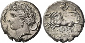 Syracuse. Tetradrachm circa 310-304 BC, AR 16.69 g. Head of Persephone l., with barley wreath and triple-pendant earring and necklace; around, three d...