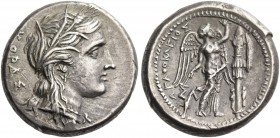 Syracuse. Tetradrachm circa 310-304 BC, AR 17.20 g. Barley-wreathed head of Kore-Persephone r. Rev. Nike standing r., erecting trophy; in l. field, tr...
