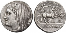 Syracuse. Tetradrachm circa 218-215 BC, AR 13.98 g. Veiled head l.; in r. field, palm branch. Rev. Nike driving fast quadriga r., holding reins and ke...