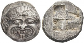 Macedonia, Neapolis. Stater circa 480-450, AR 9.63 g. Gorgoneion facing. Rev. Quadripartite incuse square. AMNG III, pl. XVI, 23. Price, Macedonians, ...