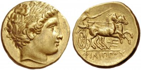 Kings of Macedonia, Philip II 359 – 336 and posthumous issues. Stater, Pella circa 340-328 BC, AV 8.60 g. Laureate head of Apollo r. Rev. Nike holding...