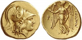 Alexander III, 336-323 and posthumous issues. Stater, uncertain mint circa 336-323 BC, AV 8.50 g. Head of Athena r., wearing Corinthian helmet decorat...