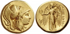 Alexander III, 336-323 and posthumous issues. Distater, Amphipolis circa 330-320, AV 16.98 g. Head of Athena r., wearing Corinthian helmet decorated w...