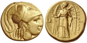 Alexander III, 336-323 and posthumous issues. Stater, Lampsacus 328-323, AV 8.50 g. Head of Athena r., wearing crested Corinthian helmet, decorated wi...