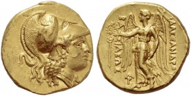 Alexander III, 336-323 and posthumous issues. Stater, Aradus circa 328-320 BC, AV 8.57 g. Head of Athena r., wearing crested Corinthian helmet, decora...